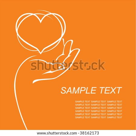 hand holding the heart - stock vector