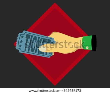 Hand holding ticket - stock vector