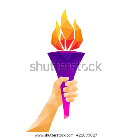 Hand holding torch. Low poly abstract geometric design. Vector illustration. - stock vector
