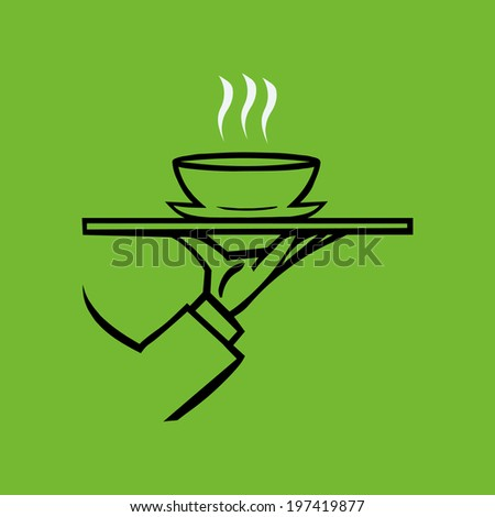 Hand holding tray  with soup ,vector  icon - stock vector