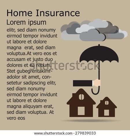 hand holding umbrella over the house .Insurance design concept. Vector EPS 10. - stock vector