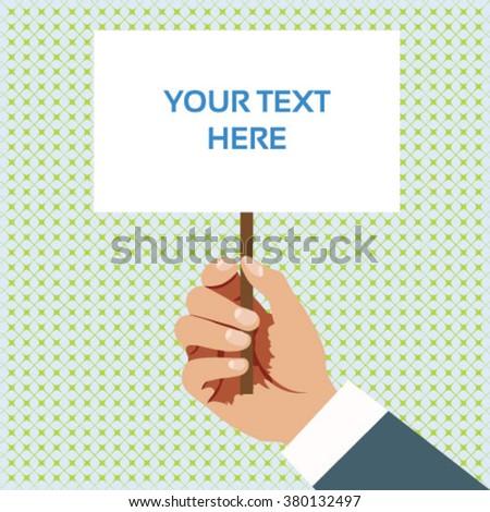 Hand holding white board vector. - stock vector