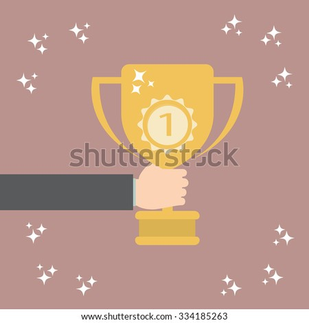 Hand holding winner's trophy award - stock vector
