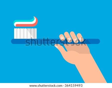 Hand holds a toothbrush with a paste. Right position. Hygiene and teeth care concept. Isolated vector illustration flat design. - stock vector
