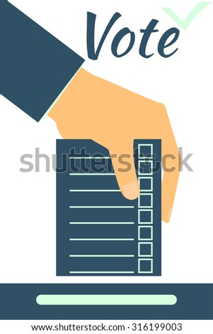 Hand holds form or ballot. Social poll. Elections. Vote. Illustration in a flat style. - stock vector