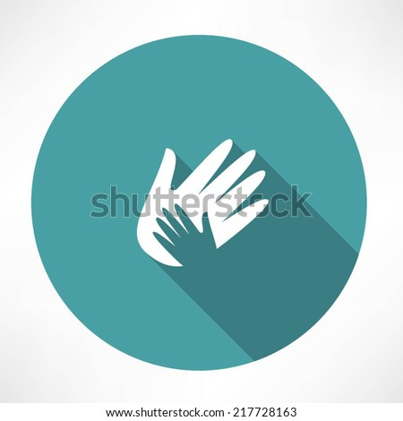 Hand holds hand icon. - stock vector