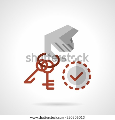 Hand holds on finger red keyring with keys and checked sign. Flat color style vector icon. Rent house and house for sale concept. Elements of web design for business. - stock vector