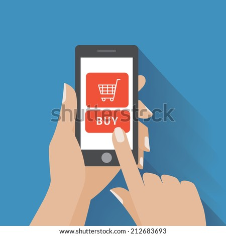 Hand holing smart phone with buy button on the screen. E-commerce flat design concept. Using mobile smart phone similar to iphon for online purchasing. Eps 10 vector - stock vector