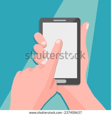 Hand holing smartphone, touching blank screen - flat design vector - stock vector