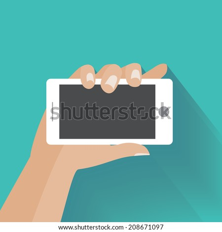 Hand holing white smartphone with blank screen. Using mobile smart phone similar to iphon, flat design concept. Eps 10 vector illustration - stock vector