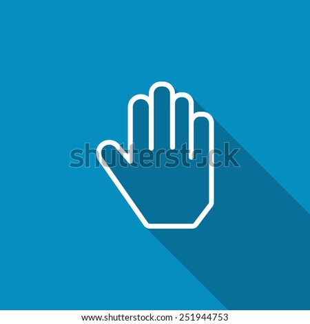 Hand icon. Flat icon with long shadow - stock vector