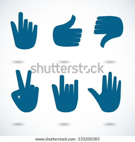 Hand icon in many characters, easy to change color. Vector illustration. - stock vector