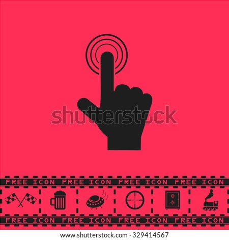 Hand icon pointer - click. Black flat vector icon and bonus symbol - Racing flag, Beer mug, Ufo fly, Sniper sight, Safe, Train on pink background - stock vector