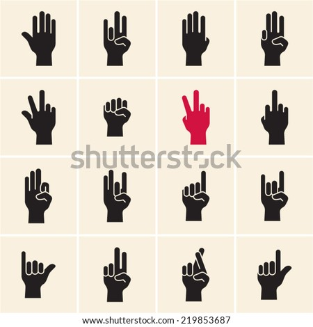 Hand icon. Sign language. Gestures. Fingers - stock vector