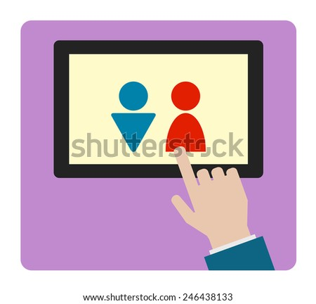 hand icon with tablet computer man woman sign design - stock vector