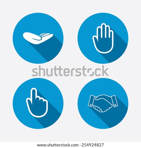 Hand icons. Handshake successful business symbol. Click here press sign. Human helping donation hand. Circle concept web buttons. Vector - stock vector