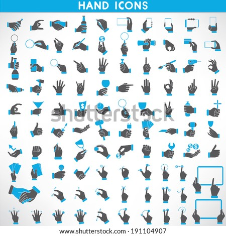 hand icons set, black and blue color theme - stock vector