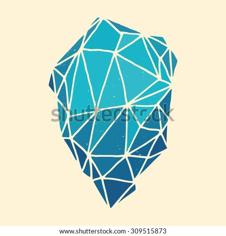 Hand illustrated polygon - abstract vector illustration. Vintage graphic element. - stock vector