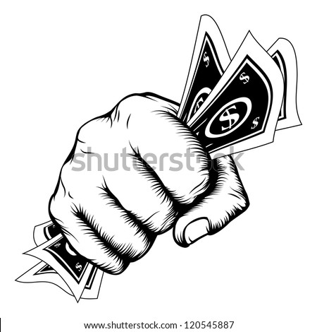Hand in a fist with cash dollar bills illustration in woodcut retro style. - stock vector