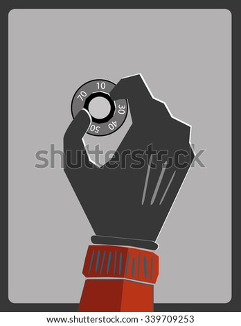 Hand in a glove turning the dial of a combination lock on the door of a safe - stock vector