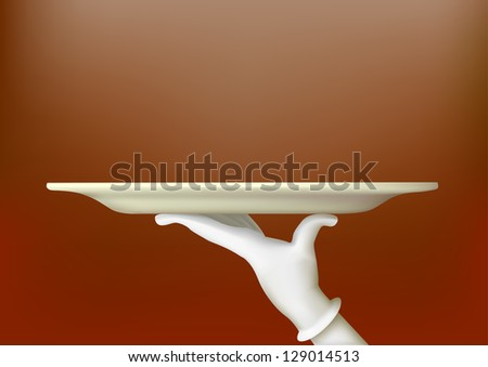 Hand in a white glove holding a tray - stock vector