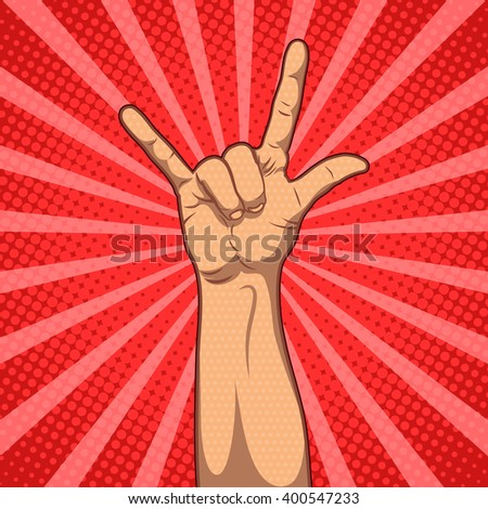 Hand in rock n roll sign, vector pop art illustration - stock vector