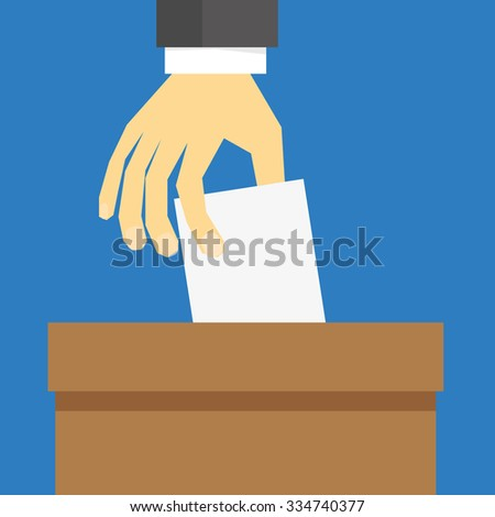 Hand in suit sleeve placing a white card or ballot paper into a brown box to cast a vote - stock vector