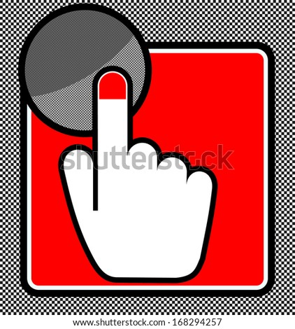 hand index finger pointing button  - stock vector