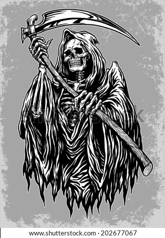 Hand Inked Grim Reaper Illustration - stock vector