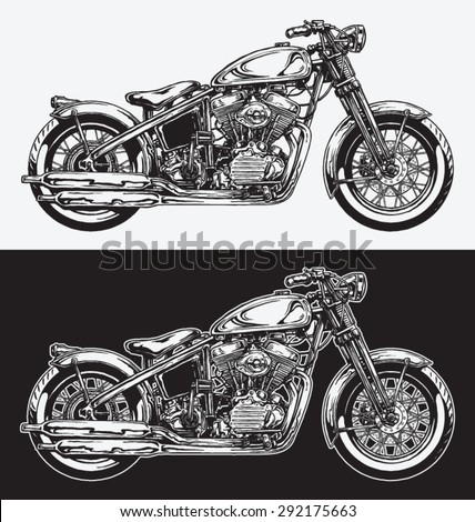 Hand Inked Motorcycle - stock vector