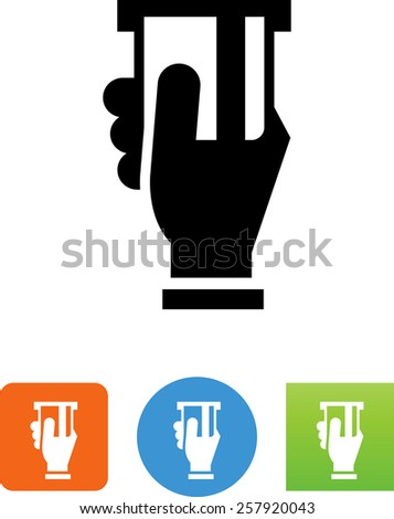 Hand inserting a credit card into a slot. Symbol for download. Vector icons for video, mobile apps, Web sites and print projects.  - stock vector
