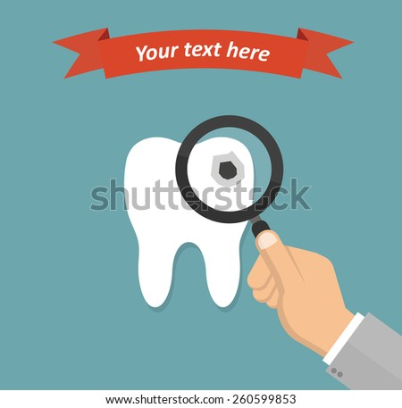 Hand inspecting cavity in a tooth with a magnifying glass - dental examination concept in flat style - stock vector