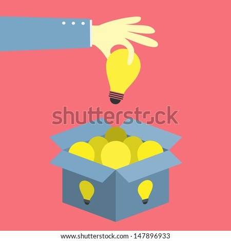 hand keep up bulb idea from idea box - stock vector