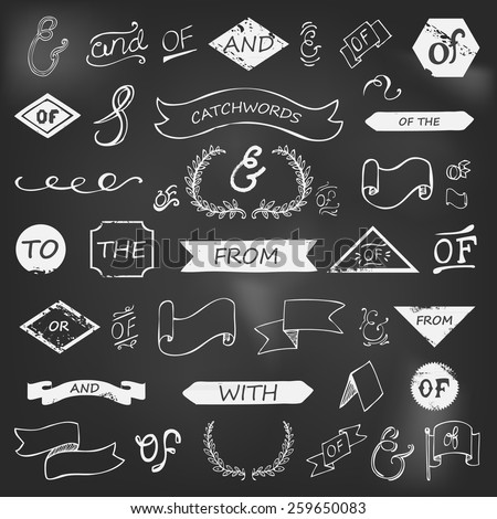 hand-lettered ampersands and catchwords on chalkboard - stock vector