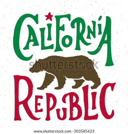 Hand lettered California Republic apparel t shirt fashion design, Walking Grizzly Bear graphic, typographic art, ink drawing vector illustration, Golden state west coast travel souvenir. Flag colors. - stock vector