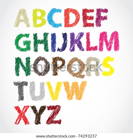 hand lettered color alphabet - stock vector