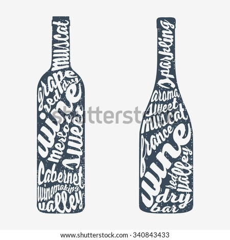 Hand lettering bottle of wine. Vector illustration Isolated on background.  - stock vector
