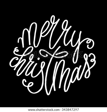 Hand lettering curly Merry Christmas inscription, white script text isolated on black background. Vector illustration. - stock vector