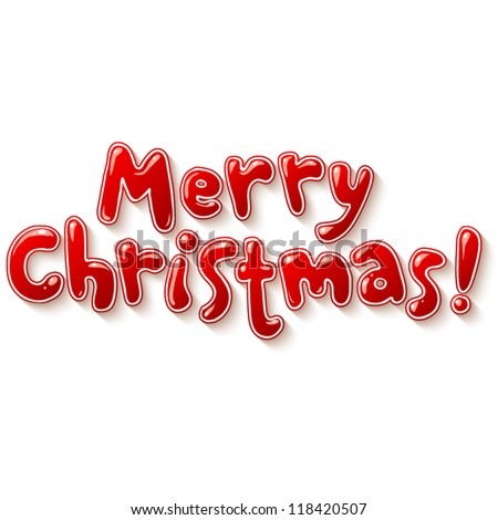 Hand lettering Merry christmas sign applique background. Vector elements for your design. - stock vector