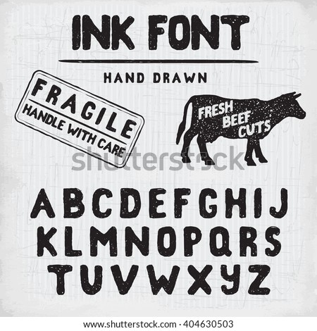 Hand Made Ink stamp font. Handwritten alphabet. Vintage retro textured hand drawn typeface with grunge effect, good for custom logo or emblem. Vector illustration. on retro paper background. - stock vector