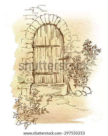 Hand made sketch of old town. Line artwork. ?utotraced vector. Old doors, windows, walls and trees.  - stock vector