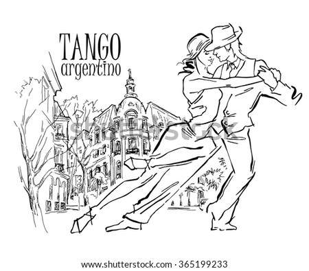 Hand made sketch of tango dancers with city background. Vector illustration. Use for tango studio posters, flayers, web-sites. Tango inscription.  - stock vector