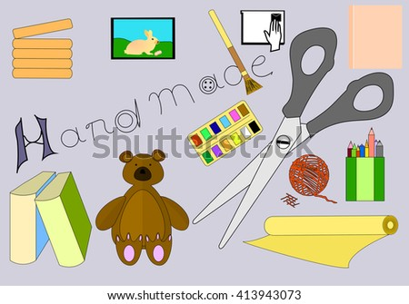 Hand Made Stuff Vector Illustration. Creative Work Symbols Silhouette Isolated On Grey Background. Vector objects for Presentation, Typographical Elements. - stock vector