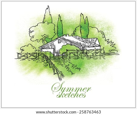 Hand made vector watercolor sketch of summer, trees and houses - stock vector