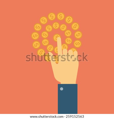 Hand making a click of the finger, the monetary transaction network - stock vector