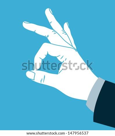 Hand making ok sign - stock vector
