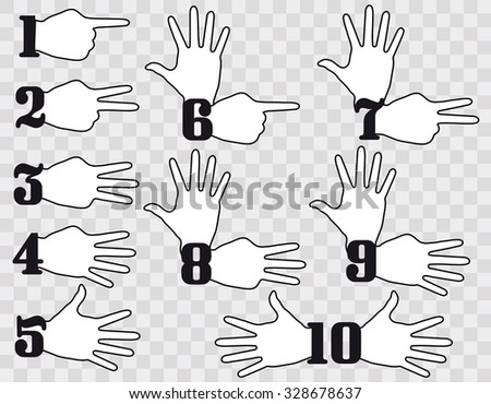 Hand , Numbers Counting Flat Design - stock vector