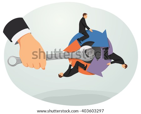 Hand of a big boss with a wrench is turning managers on the arrows. Candidates selection. Business rotation. - stock vector