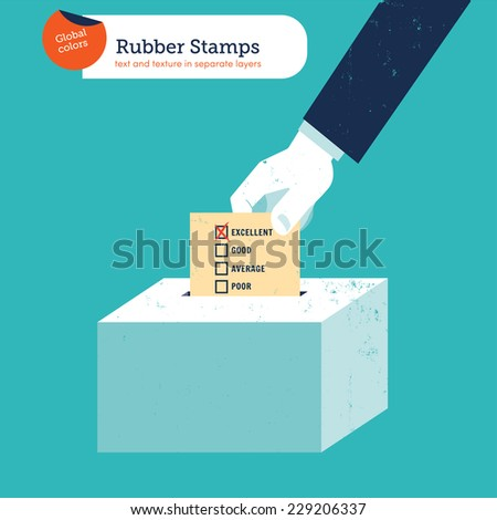 Hand of a businessman putting an excellent votingballot in a ballot box. Vector illustration Eps10 file. Global colors. Text and Texture in separate layers. - stock vector