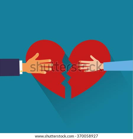 hand of a man  and hand of a woman tearing apart heart symbol. flat style. - stock vector